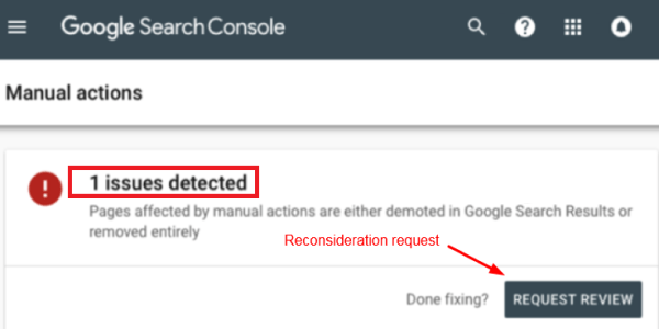 Submit a manual action reconsideration request
