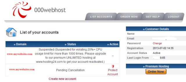 Suspended By 000webhost