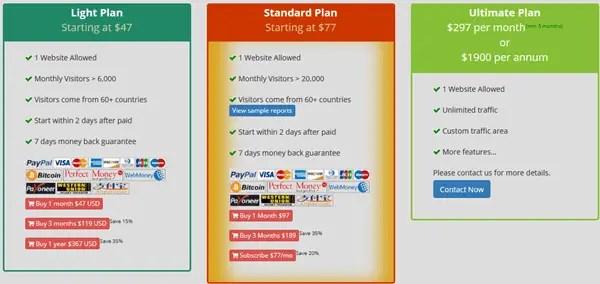 Xtraffic+ plan pricing