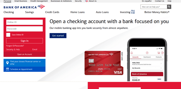Bank of america students account