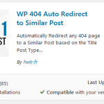 Install WP 404 Auto Redirect to Similar Post plugin