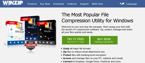 WinZip file compressing software