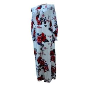 Floral Maxi Slash Neck Long Sleeve Dress