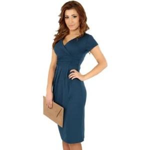 Women Elegant Office Stretchy Dress Wrap Front