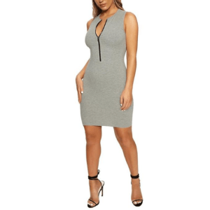 Women's Sexy Front Zipped Stretchy Short Dress