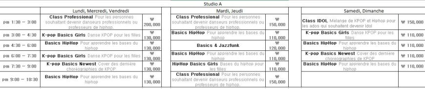studio A planning cours de danse Def dance skool Blog Corée du Sud - the korean dream