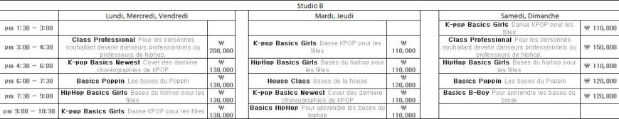 studio B planning cours de danse Def dance skool Blog Corée du Sud - the korean dream