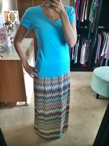 Remmis Mutli-Color Chevron Print Maxi Skirt