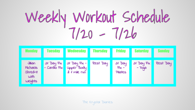 Weekly Workout Schedule 7.20.15 - 7.26.15