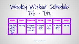 Weekly Workout Schedule 7.6.15 - 7.12.15