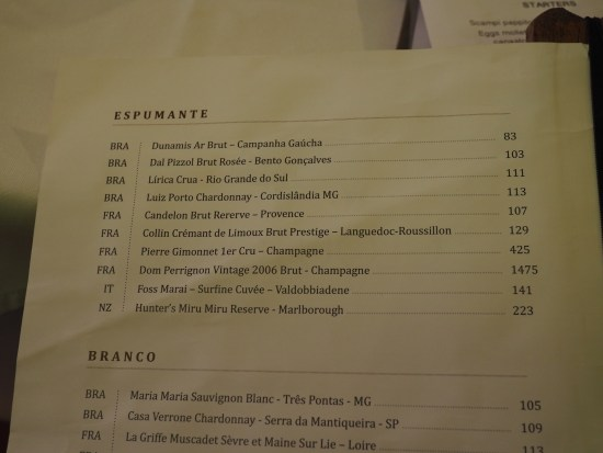 Sparkling Wine List
