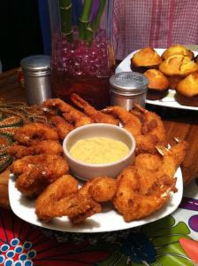 Beer Battered Breaded shrimp with honey mustard sauce.