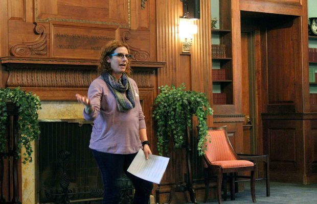 Amelia Katanski speaks to the think tank participants about the history of Farms to K and other ways K has been involved in food justice (Taylor Long / The Index)