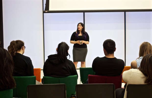 Patricia Valoy speaks with students in the Arcus Center (Rachel Carson / Index)