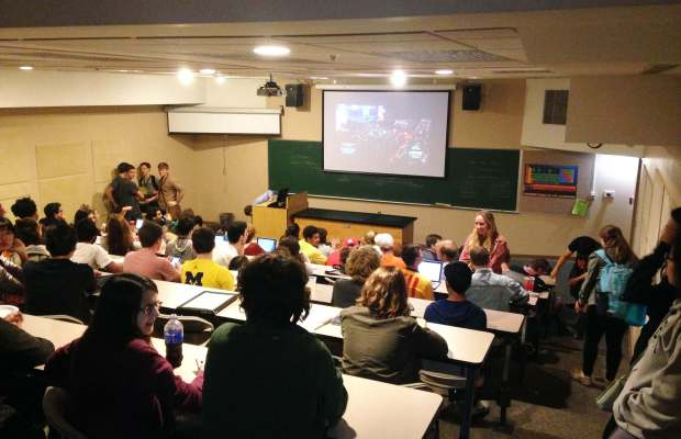 Students gather in Olds-Upton to watch the presidential debate [Gabriel Stanley / The Index].