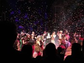 The cast of The Rocky Horror Show dances after they bow to the crowd who gave a standing ovation.