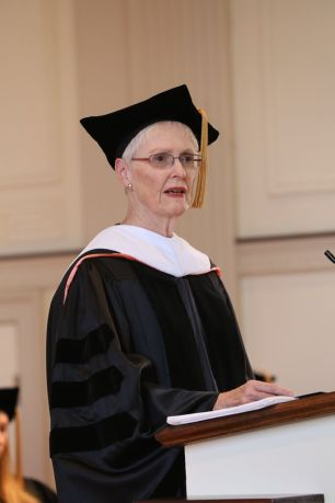 Charlotte Hall addresses audience during President Gonzalez's inauguration. Photo courtesy of John Lacko.
