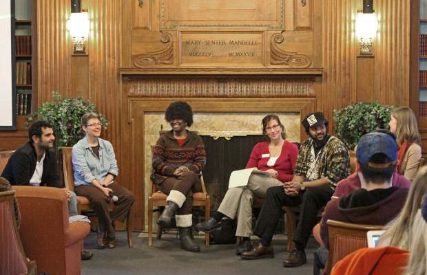 Panelists discussing the sustainability of our food system (Courtesy of Miranda Petersen).