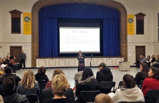 Superintendent of Kalamazoo Public Schools Dr. Michael Rice speaks at the Woodward School Community Meeting [Meredith Ashton / The Index].