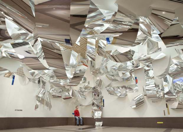 "Louden's ""Windows"" aluminum installation (Courtesy of Sharon Louden) Caption: Artist and educator Sharon Louden (Courtesy of Sharon Louden)."