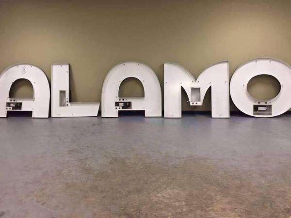 The Alamo Drafthouse sign after it was taken down (Photo courtesy of Kyle Lampar, K'17).