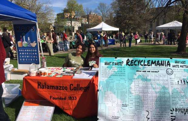Recyclemania advertised during Earth Day celebration at Bronson Park (Ayla Hull / The Index).