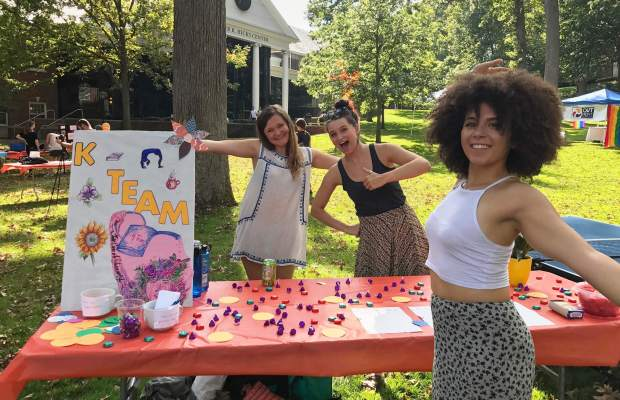 (Left to right) K Team leaders Claire Howland '18, Savannah Kinchen '18, and Raen Wolmark '20 at K Fest this fall. [Courtesy of Savannah Kinchen]