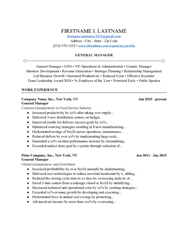 General Manager Resume Example Free Download