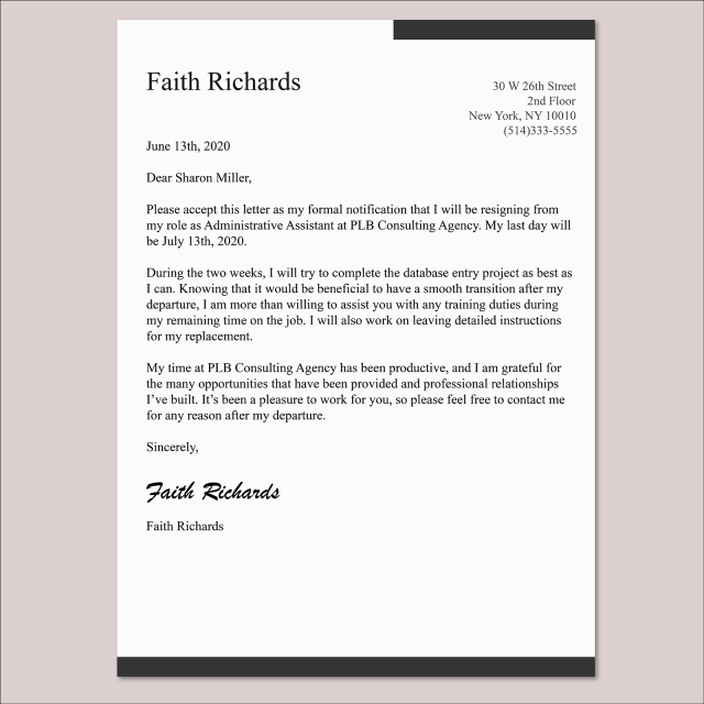 How to write a 22 weeks notice letter and not burn any bridges