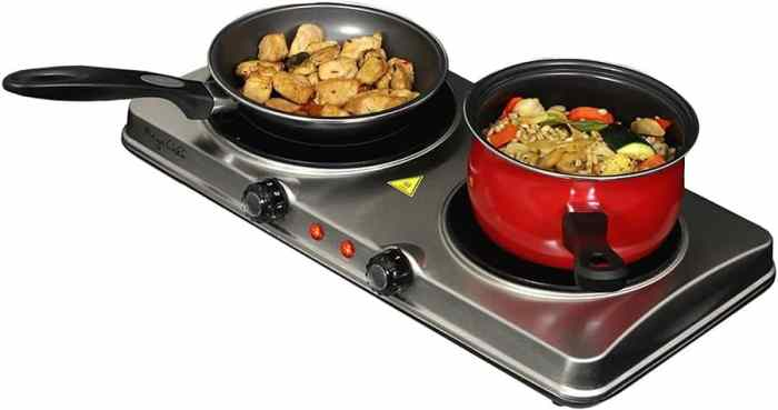 MegaChef Electric Easily Portable Heavy Duty Lightweight Dual Size Infrared Burner Cooktop