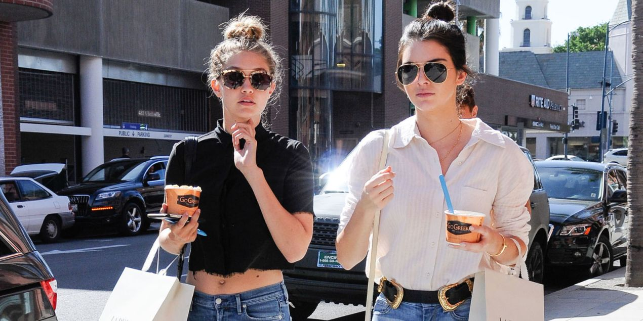 Gigi Hadid and Kendall Jenner out in LA. Photo from Harper's Bazaar.