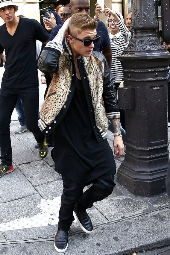 Justin Bieber wears a leopard print bomber jacket while shopping in Paris | The Updated Canadian Tuxedo: Canadian Celebs in Leopard Print | The Lady-like Leopard