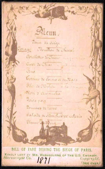 An menu of zoo animals, from the collection of American Minister to France, Elihu B. Washburne