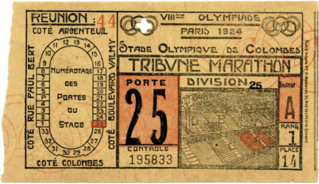 Ticket to the 1924 Olympic Games