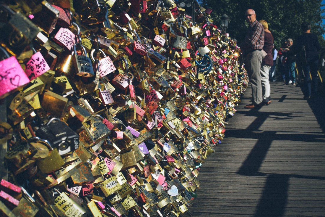 Love locks near the Pont des Arts, October 2015