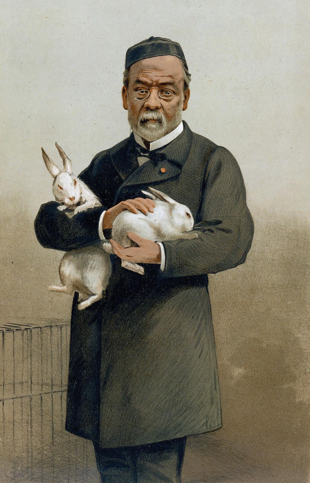 Louis Pasteur holding experimental rabbits