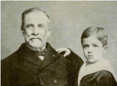 Black and white photograph of Louis Pasteur and Joseph Meister. Meister's treatment was a milestone in the history of the vaccine.