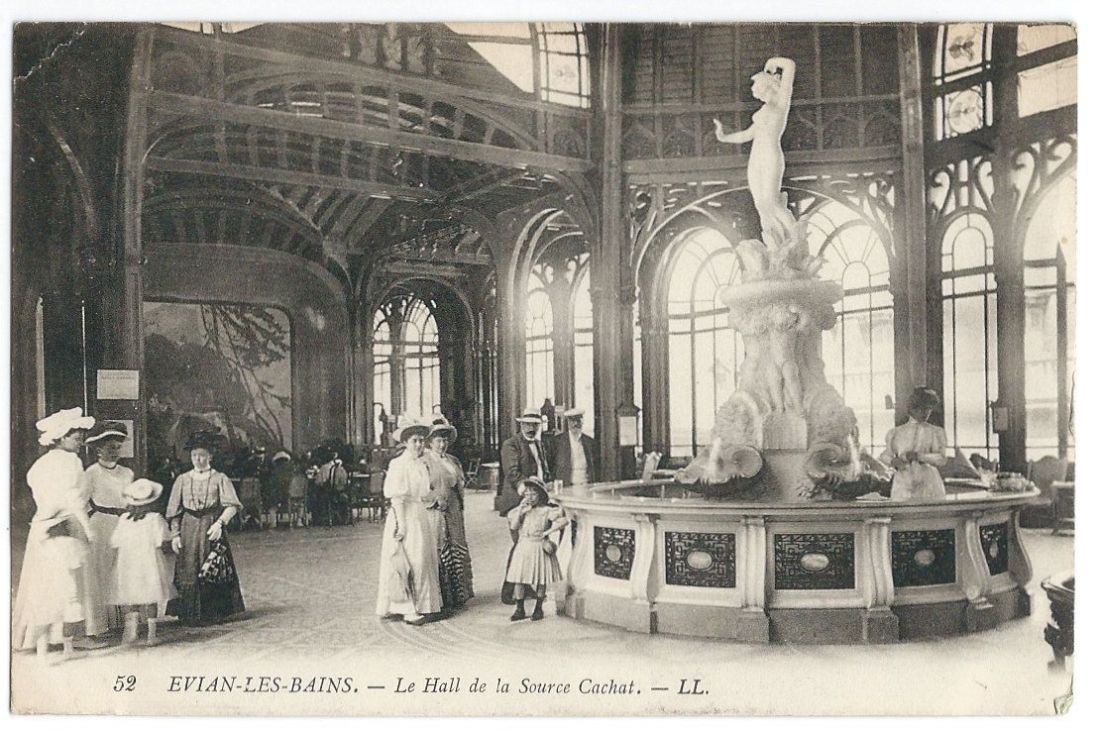 19th century postcard from Evian-les-bain, one of the premiere thermal spas of France