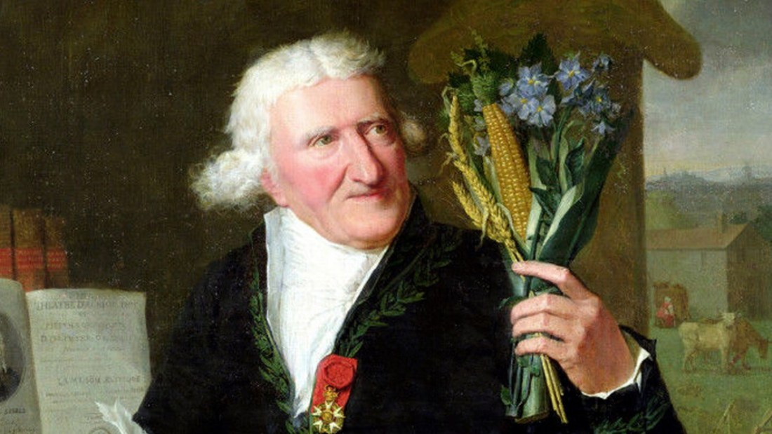 Portrait of Antoine Parmentier holding wheat and potato blossoms