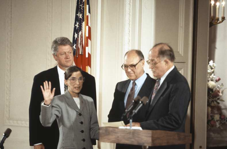 Supreme Court Justice Ruth Bader Ginsburg being sworn in.