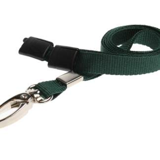 10mm Lanyard with Safety Breakaway & Metal Lobster Clip (Dark Green)