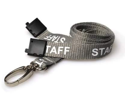 15mm Staff Lanyards with Breakaway & Metal Lobster Clip (Grey)