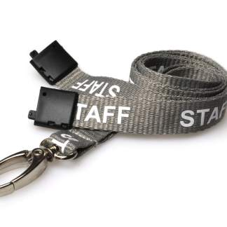 15mm Staff Lanyards with Breakaway & Metal Lobster Clip (Grey)