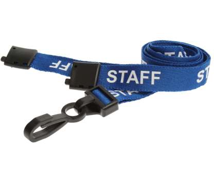 15mm Staff Lanyards with Breakaway & Plastic Clip (Light Blue)