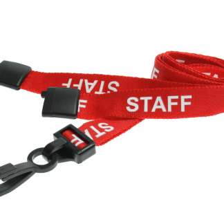 15mm Staff Lanyards with Breakaway & Plastic Clip (Red)