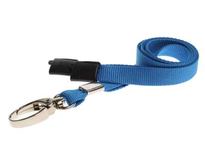 10mm Lanyard with Safety Breakaway & Metal Lobster Clip (Light Blue)