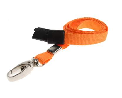 10mm Lanyard with Safety Breakaway & Metal Lobster Clip (Orange)