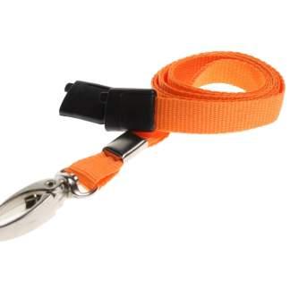 10mm Lanyard with Safety Breakaway & Metal Lobster Clip (Orange)
