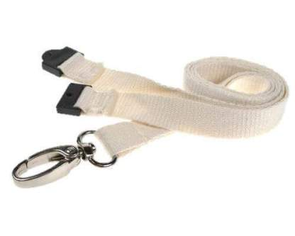 White Bamboo Biodegradable Lanyards with Metal Lobster Clip