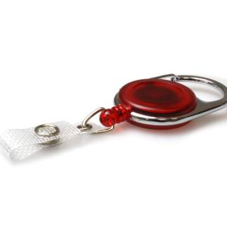 Red Carabiner ID Badge Reels with Strap Clip